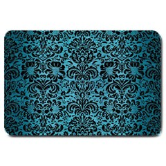 Damask2 Black Marble & Teal Brushed Metal Large Doormat  by trendistuff