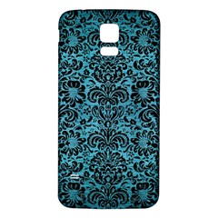 Damask2 Black Marble & Teal Brushed Metal Samsung Galaxy S5 Back Case (white) by trendistuff