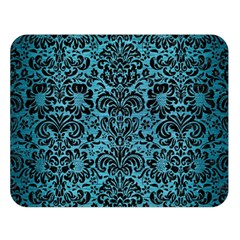 Damask2 Black Marble & Teal Brushed Metal Double Sided Flano Blanket (large)  by trendistuff