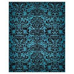 Damask2 Black Marble & Teal Brushed Metal Drawstring Bag (small) by trendistuff
