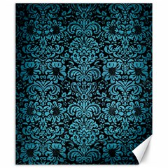 Damask2 Black Marble & Teal Brushed Metal (r) Canvas 20  X 24   by trendistuff