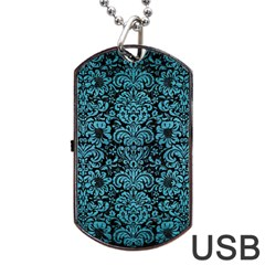 Damask2 Black Marble & Teal Brushed Metal (r) Dog Tag Usb Flash (one Side) by trendistuff