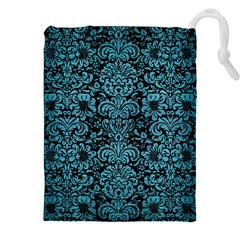 Damask2 Black Marble & Teal Brushed Metal (r) Drawstring Pouches (xxl) by trendistuff
