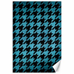 Houndstooth1 Black Marble & Teal Brushed Metal Canvas 12  X 18