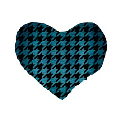 Houndstooth1 Black Marble & Teal Brushed Metal Standard 16  Premium Flano Heart Shape Cushions by trendistuff