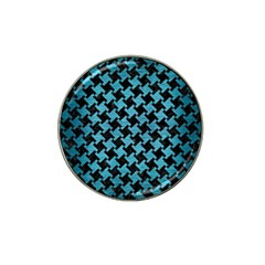 Houndstooth2 Black Marble & Teal Brushed Metal Hat Clip Ball Marker (4 Pack)