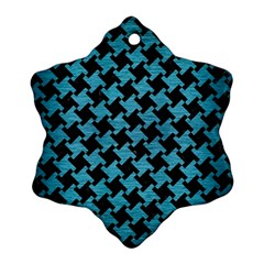Houndstooth2 Black Marble & Teal Brushed Metal Ornament (snowflake) by trendistuff