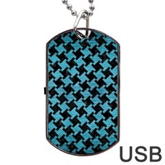 Houndstooth2 Black Marble & Teal Brushed Metal Dog Tag Usb Flash (two Sides) by trendistuff