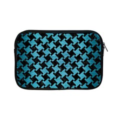 Houndstooth2 Black Marble & Teal Brushed Metal Apple Ipad Mini Zipper Cases by trendistuff