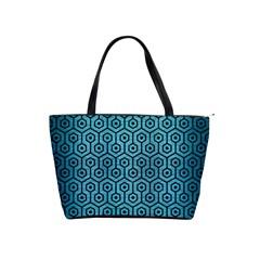 Hexagon1 Black Marble & Teal Brushed Metal Shoulder Handbags by trendistuff
