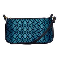 Hexagon1 Black Marble & Teal Brushed Metal Shoulder Clutch Bags by trendistuff
