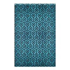 Hexagon1 Black Marble & Teal Brushed Metal Shower Curtain 48  X 72  (small)  by trendistuff