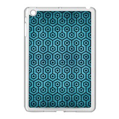 Hexagon1 Black Marble & Teal Brushed Metal Apple Ipad Mini Case (white) by trendistuff