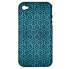 Hexagon1 Black Marble & Teal Brushed Metal Apple Iphone 4/4s Hardshell Case (pc+silicone) by trendistuff