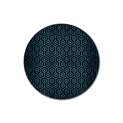Hexagon1 Black Marble & Teal Brushed Metal (r) Rubber Coaster (round)  by trendistuff