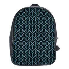 Hexagon1 Black Marble & Teal Brushed Metal (r) School Bag (large) by trendistuff