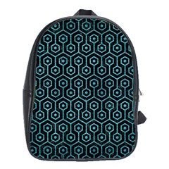 Hexagon1 Black Marble & Teal Brushed Metal (r) School Bag (xl) by trendistuff