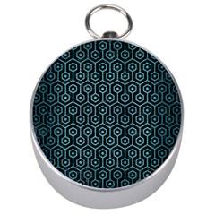 Hexagon1 Black Marble & Teal Brushed Metal (r) Silver Compasses by trendistuff