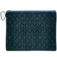 Hexagon1 Black Marble & Teal Brushed Metal (r) Canvas Cosmetic Bag (xxxl) by trendistuff