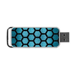 Hexagon2 Black Marble & Teal Brushed Metal Portable Usb Flash (two Sides) by trendistuff