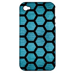 Hexagon2 Black Marble & Teal Brushed Metal Apple Iphone 4/4s Hardshell Case (pc+silicone) by trendistuff