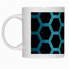 Hexagon2 Black Marble & Teal Brushed Metal (r) White Mugs by trendistuff