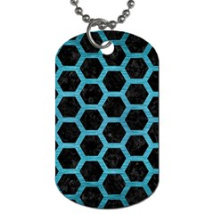 Hexagon2 Black Marble & Teal Brushed Metal (r) Dog Tag (two Sides) by trendistuff