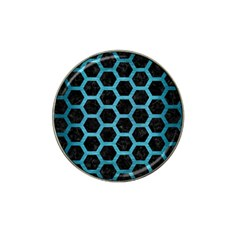 Hexagon2 Black Marble & Teal Brushed Metal (r) Hat Clip Ball Marker (10 Pack) by trendistuff