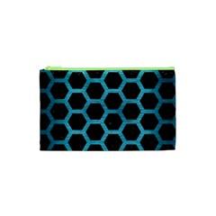 Hexagon2 Black Marble & Teal Brushed Metal (r) Cosmetic Bag (xs) by trendistuff