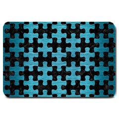 Puzzle1 Black Marble & Teal Brushed Metal Large Doormat  by trendistuff
