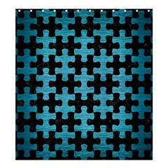 Puzzle1 Black Marble & Teal Brushed Metal Shower Curtain 66  X 72  (large)  by trendistuff
