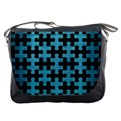 Puzzle1 Black Marble & Teal Brushed Metal Messenger Bags by trendistuff