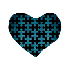 Puzzle1 Black Marble & Teal Brushed Metal Standard 16  Premium Flano Heart Shape Cushions by trendistuff