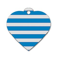 Blue And White Lines Dog Tag Heart (two Sides)