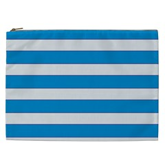 Blue And White Lines Cosmetic Bag (xxl)  by berwies