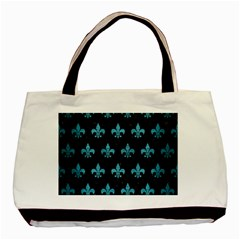 Royal1 Black Marble & Teal Brushed Metal Basic Tote Bag (two Sides) by trendistuff