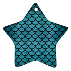 Scales1 Black Marble & Teal Brushed Metal Star Ornament (two Sides) by trendistuff