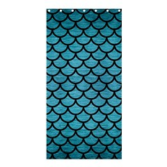 Scales1 Black Marble & Teal Brushed Metal Shower Curtain 36  X 72  (stall)  by trendistuff