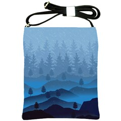 Blue Mountain Shoulder Sling Bags by berwies
