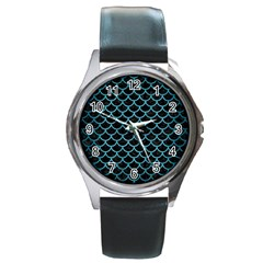 Scales1 Black Marble & Teal Brushed Metal (r) Round Metal Watch