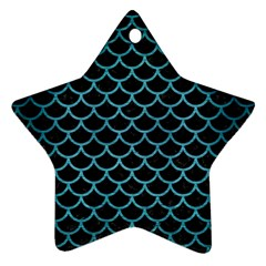 Scales1 Black Marble & Teal Brushed Metal (r) Star Ornament (two Sides) by trendistuff