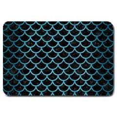 Scales1 Black Marble & Teal Brushed Metal (r) Large Doormat  by trendistuff