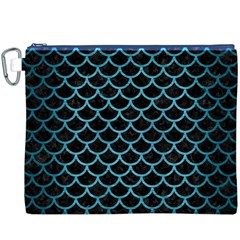 Scales1 Black Marble & Teal Brushed Metal (r) Canvas Cosmetic Bag (xxxl) by trendistuff
