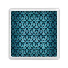 Scales2 Black Marble & Teal Brushed Metal Memory Card Reader (square)  by trendistuff