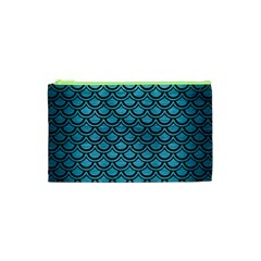 Scales2 Black Marble & Teal Brushed Metal Cosmetic Bag (xs) by trendistuff