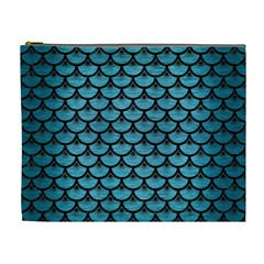 Scales3 Black Marble & Teal Brushed Metal Cosmetic Bag (xl) by trendistuff