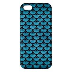 Scales3 Black Marble & Teal Brushed Metal Apple Iphone 5 Premium Hardshell Case by trendistuff