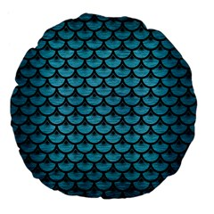Scales3 Black Marble & Teal Brushed Metal Large 18  Premium Flano Round Cushions by trendistuff