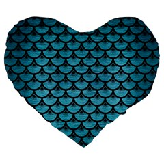 Scales3 Black Marble & Teal Brushed Metal Large 19  Premium Flano Heart Shape Cushions by trendistuff