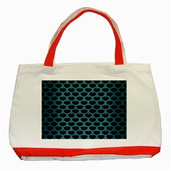 Scales3 Black Marble & Teal Brushed Metal (r) Classic Tote Bag (red) by trendistuff